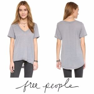 Free People Sheer Green Burnout Hi Lo Tee Sz. M